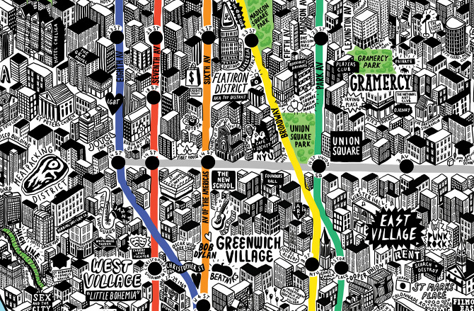 Hand Drawn Map Of New York Jenni Sparks - New york city map drawing