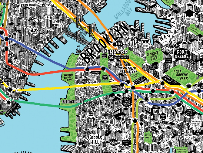 the hand drawn map of new york is available for purchase at evermade